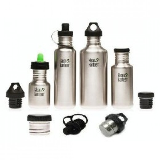 The range of Klean Kanteen stainless steel sports bottles