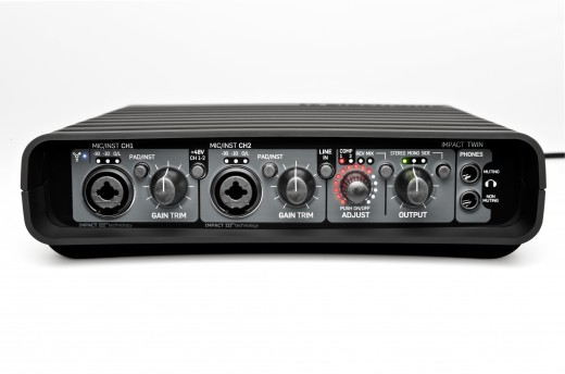 Front view of the Impact Twin audio interface