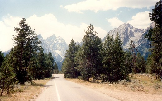Road through the Grand Tetons National Park
