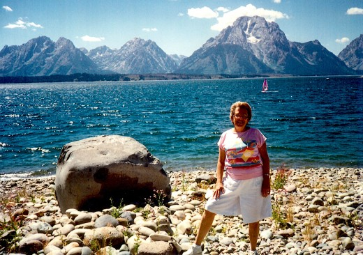My mother with Lake Jackson and the Tetons forming the backdrop