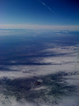 Approaching Denver and the snow appears.