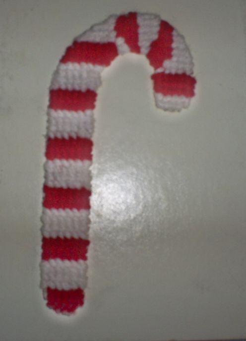 Make a cute cross stitched candy cane for the Christmas tree.