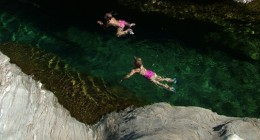 Crystal clear aquamarine River Swimming nearby