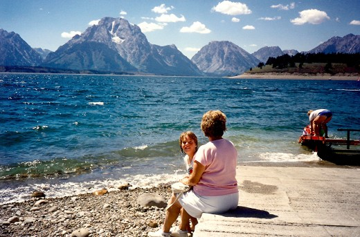 Using the boat ramp area as a seat while viewing the action at Jackson Lake in the Tetons