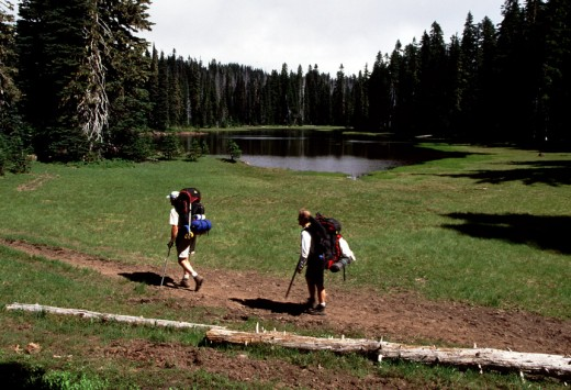 Hiking past Sand Lake.