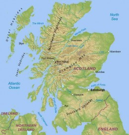 Map of scotland, showing the mountainous and flatter areas