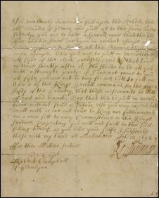 copy of the original order to carry out the massacre, signed by William of Orange