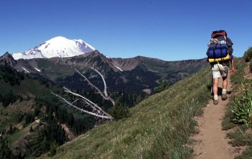 Jondolar heading north on the trail with Mt. Rainier as scenery.
