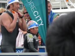 Father & son from Korea complete the swim