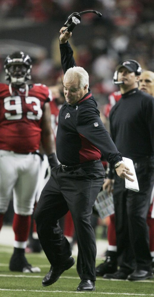 Atlanta Falcons head coach Mike Smith reacts after a pass interference call against the Falcons that appeared to be an interception during the third quarter of their NFL football game in Atlanta, Sunday, Dec. 13, 2009. New Orleans won 26-23. (AP Phot