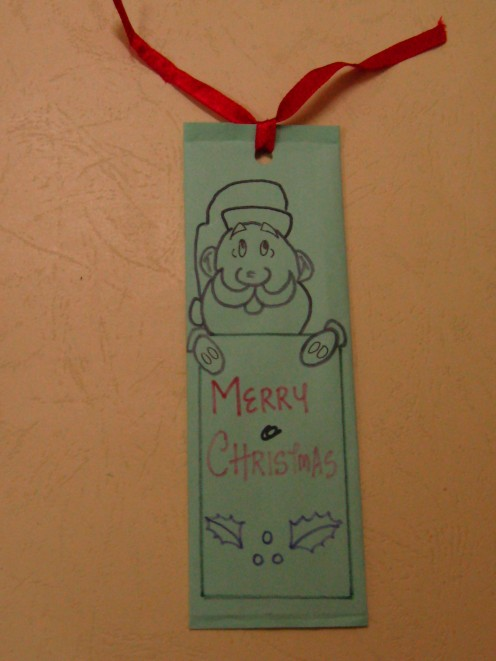 A simple handmade Christmas bookmark