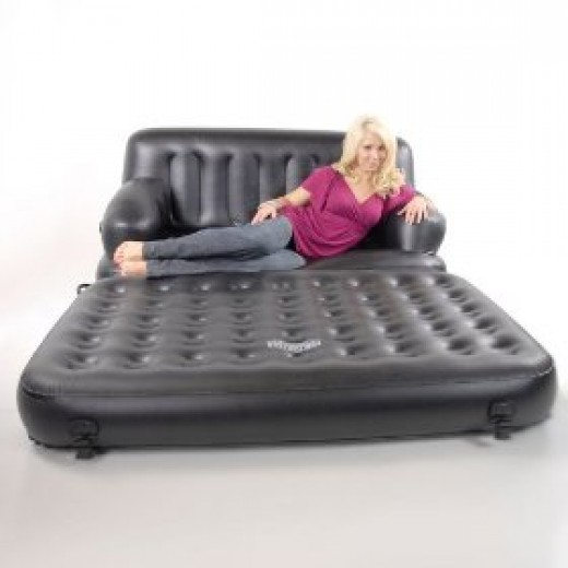 Converting the inflatable sofa bed into a mattress