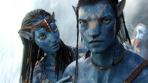 Jake Sully (Sam Worthington) as his avatar with Neytiri (Zoe Saldana)
