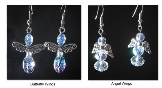 The completed Butterfly wing style and an Angel wing style.