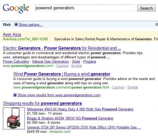 "Google's search results of ""powered generators"""