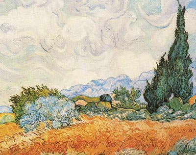 Van Gogh Painting: Wheat Field with Cypresses (6)