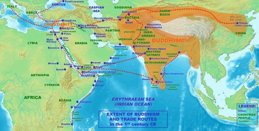 Extent of Buddhism and trade routes in the 1st century CE (Source wikipedia)