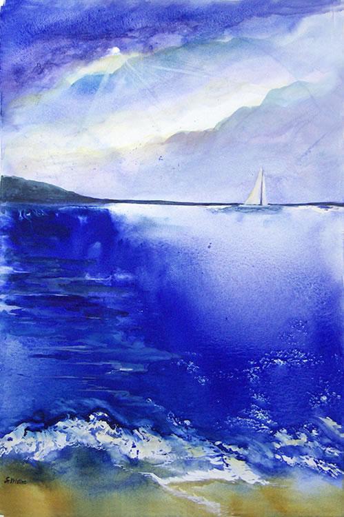 """""""Sail Away"""" Water Media by Sister Kristine Haugen"""