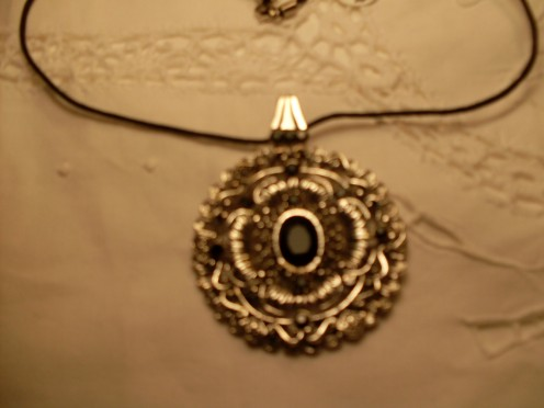 Silver and Black Onyx Necklace