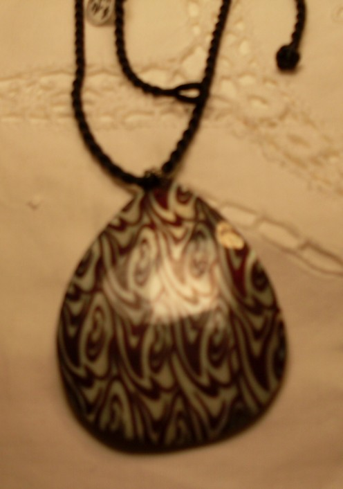 Black & White Teardrop Shell Pendant on Black Chinese Silk Cord, Necklace
