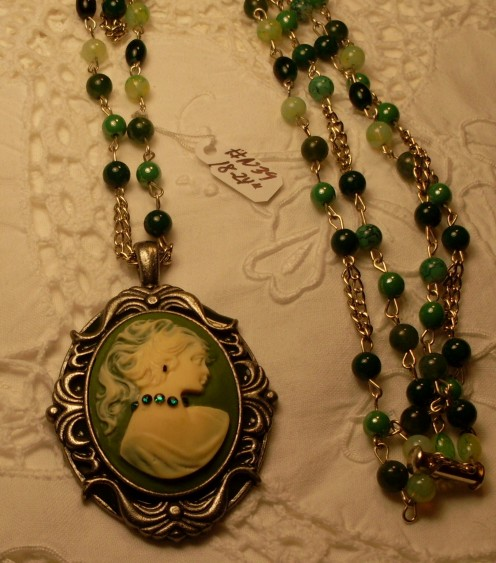 Mixed Natural Stone Jade Rope Necklace, with Green and Cream Cameo set in Antique Silver