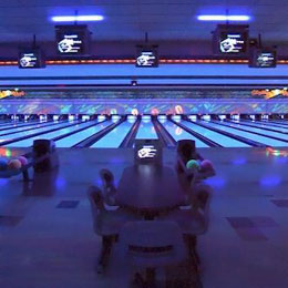 Cosmic bowling at Middletown Lanes.