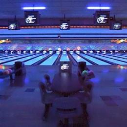 Cosmic bowling at Middletown Lanes.