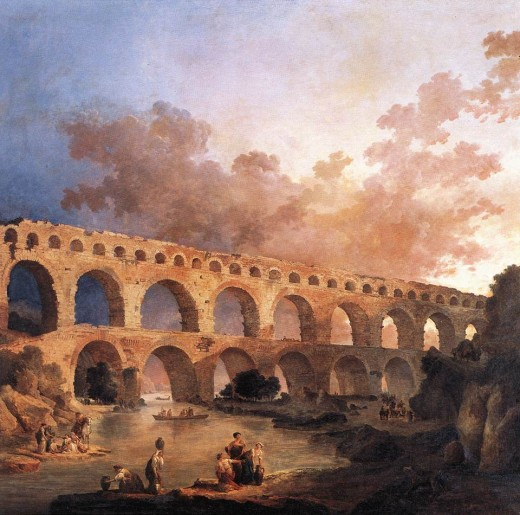 """Hubert Robert- """"The pont du gard"""""""