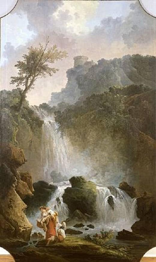 "Hubert Robert- ""La Cascade"""