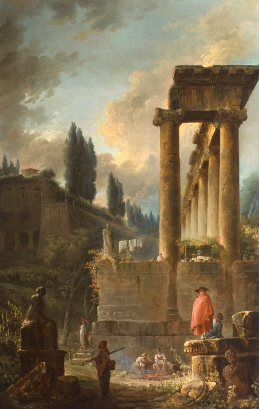 "Hubert Robert- ""Figures amongst Ruins inspired by the Temple of Saturn"" (1761)"