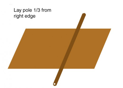 Lay pole on top 1/3 from right edge