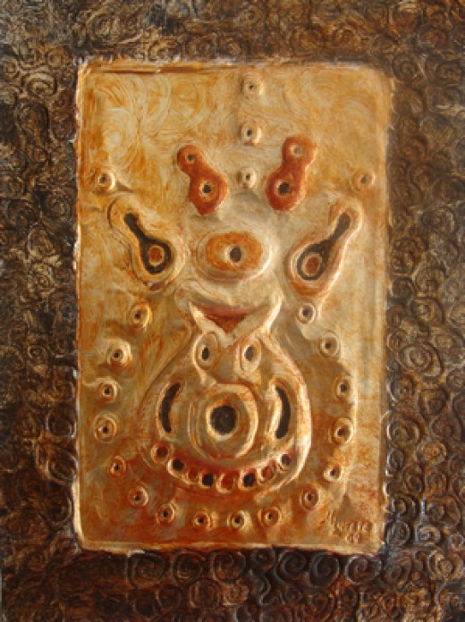 Gourd Mask: Unique African Metal Art by Injete Chesoni. Painting of an African Mask on Hand-Embossed Metal.