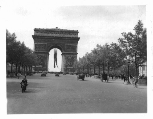 Arc de Triumphe Paris, France, VE-Day, 1945, photo by Robert J. Fleck