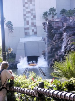 The Jurassic Park water ride has a big drop at the end!