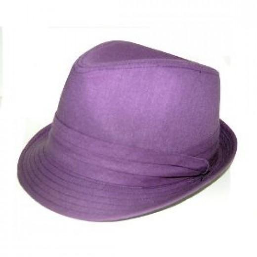 Purple fedora hat for women
