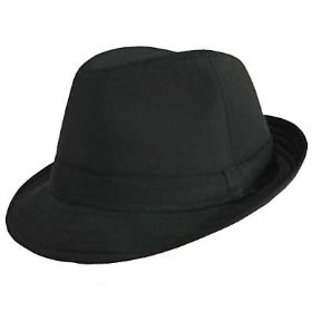 Black cotton fedora hat for women