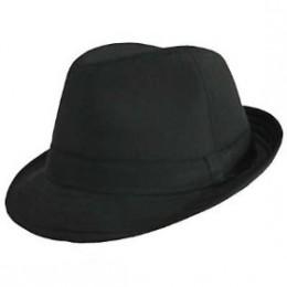 Black cotton fedora hat for women
