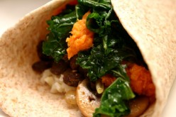 Sweet Potato Black Bean Burrito Recipe with Kale, Mushrooms