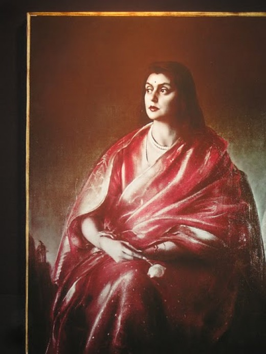 Portrait of Maharani Gayatri Devi, thethen queen of Jaipur