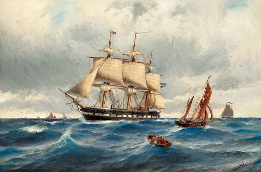 Painting of Ship on Nordsjon 1889 by Jocob Hagg.public domain