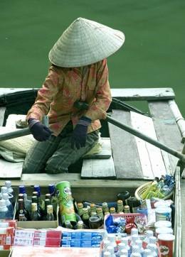 Peddler on a boat