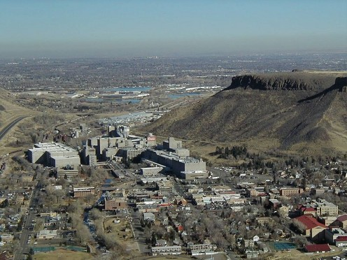 Coors Brewery and Golden, Colorado (another suburb). Denver is seen in the background.