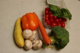 Vegetables for the vegetarian pasta