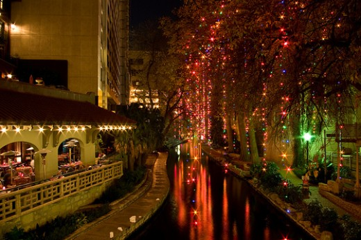 Riverwalk with lights.  Photo from Flickr.com.