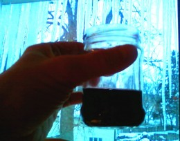 Drink warm Italian Duca Sanfelici red wine from a jar on a cold winter night.