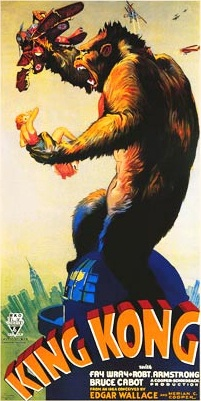 Original 1933 King Kong movie poster, U.S. public domain only.