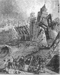 Lisbon earthquake 1755. The city lay in ruin.