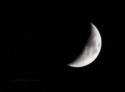 By night, the waxing moon was bright and easy to see in the clear sky.
