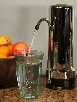 Elegant Chrome Counter Water Filter.