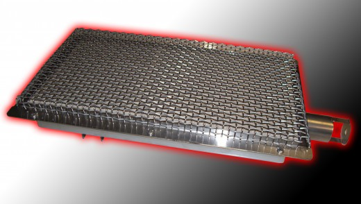 Infrared burners have a stainless case with ceramic tile on top.  The tile has thousands of ports and each port is a small pressurized flame.